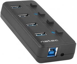 Natec Mantis 2, aktívny HUB s funkciou nabíjania 4x USB 3.0, vypínač, napájací adaptér