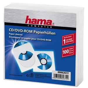 ochranné obaly na CD/DVD, papierové, biele, 100 ks