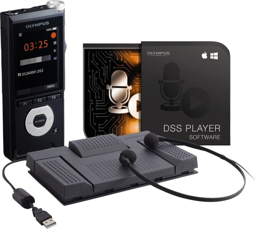 Olympus DS-2600, diktafón + sada AS-2400, čierny