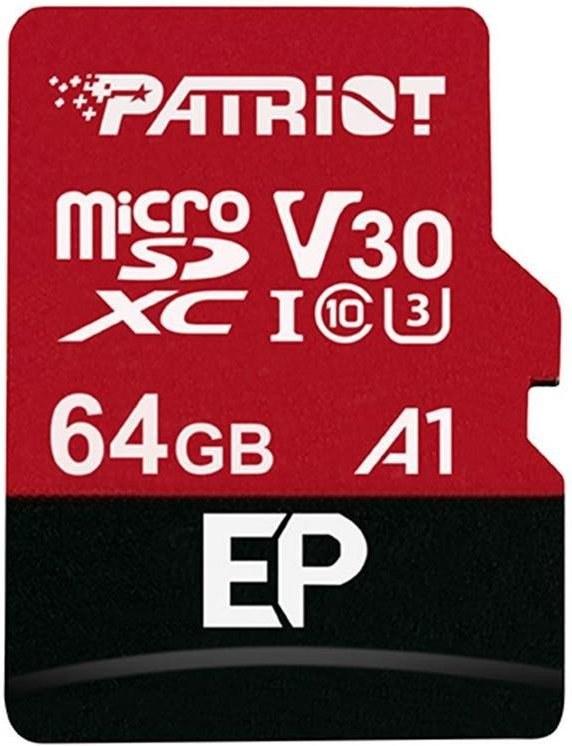 Patriot EP 64GB microSDXC, Class 10 UHS-I V30 A1 + adaptér