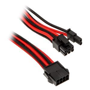 Phanteks 6+2-pin PCIe, predlžovací opletený kábel, 50 cm, čierno-červený