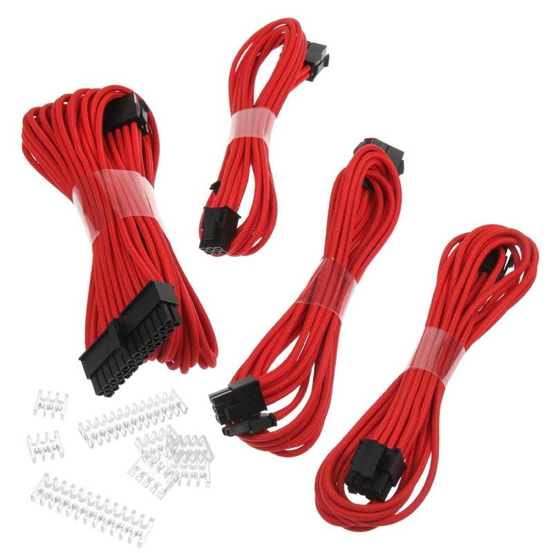 Phanteks Extension, set predlžovacích opletených káblov, 50 cm, červený