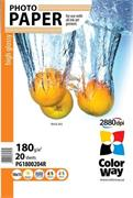 Photo paper ColorWay high glossy 180g/m2, 10x15, 20pc. (PG1800204R)