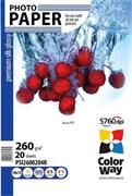 Photo paper ColorWay premium silk glossy 260g/m2, 10x15, 20pc. (PSI260