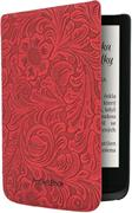 POCKETBOOK pouzdro pro 616, 627, 632, vzor květin, červené