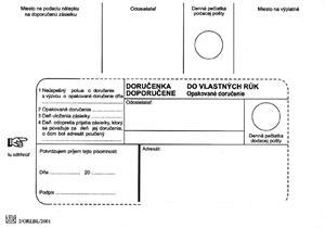 Poštové obálky B6 doručenka do VR OD, biele 1000 ks Doposielať