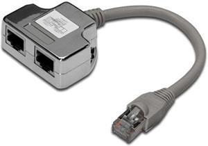 PremiumCord modulárny adaptér distributor RJ45, rozbočovač 2 porty