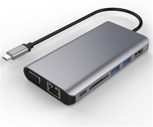 PremiumCord redukcia USB-C na HDMI + VGA + RJ45 + 2x USB 3.0 + SD card + 3,5mm + PD charge M/F, káblová, 0,15m