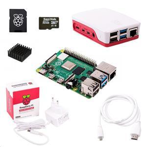 Raspberry Sada Pi 4B/1GB, (SDHC karta + adaptér, Pi 4 Model B, krabička, chladič, HDMI kabel, napájecí zdroj), bílá