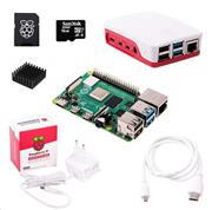 Raspberry Sada Pi 4B/4GB, (SDHC karta 16GB + adaptér, Pi4 Model B, krabička, chladič, HDMI kabel, napájecí zdroj), bílá