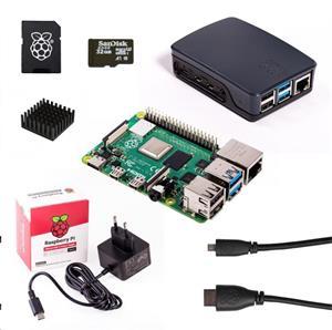 Raspberry Sada Pi 4B/4GB, (SDHC karta + adaptér, Pi 4 Model B, krabička, chladič, HDMI kabel, napájecí zdroj), černá