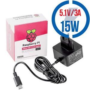 RASPBERRY USB-C adaptér Raspberry Pi 4B 3A čierny