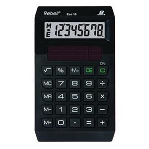 Rebell Eco 10, kalkulačka, čierna, vrecková, osemmiestna