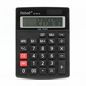 Rebell RE-8118-12 BX, kalkulačka, čierna, stolná, dvanásťmiestna