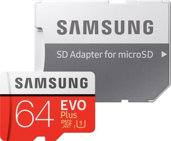 Samsung EVO Plus Micro SDXC, 64 GB + SD adaptér