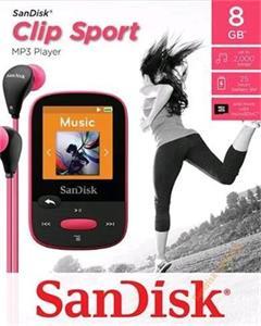 """Sandisk Clip Sport MP3 Player 8GB, microSDHC, micro USB, rádio, LCD 1.44"""",ružovy"""