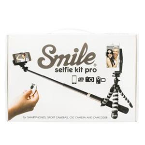 Selfie sada PRO, kov/plast, čierna, s diaľkovým ovládaním bluetooth