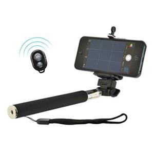 Selfie tyč kov/plast, čierna, + diaľkové ovládanie bluetooth, nastavitelná šírka