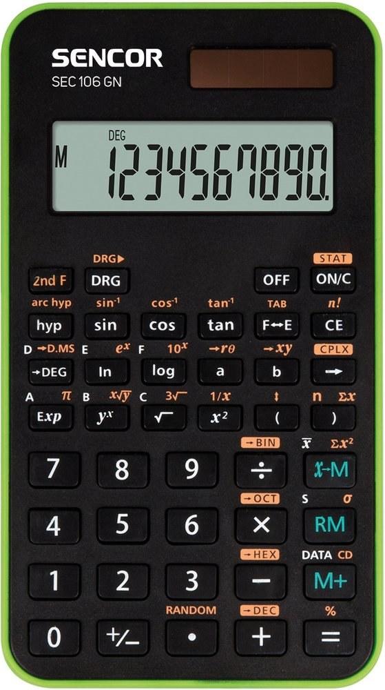 Sencor SEC 106 GN, kalkulačka vedecká, čierno-zelená