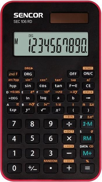 Sencor SEC 106 RD, kalkulačka vedecká, čierno-červená