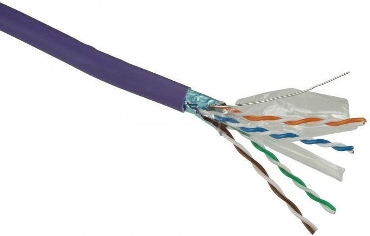 Solarix kábel, cat. 6, FTP drôt, 500m, fialová