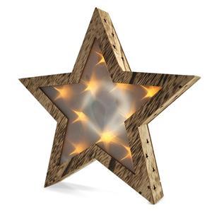 Solight 1V42, LED drevená vianočná hvezda, 3D efekt svetla, 3x AA, teplá biela