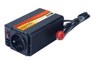 Solight IN05, invertor 12V, USB 500mA, 200W, kovový, čierny