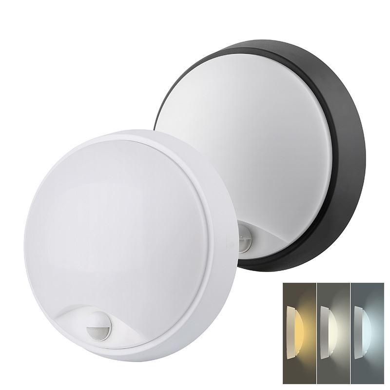 Solight LED vonkajšie osvetlenie so senzorom a nastaviteľnou CCT, 18W, 1350lm, 22cm, 2v1 - biely a čierny kryt