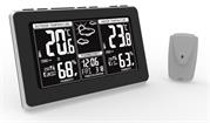 Solight meteostanica, extra veľký LCD displej, teplota, vlhkosť, RCC, čierna, strieborna, teplotny alarm