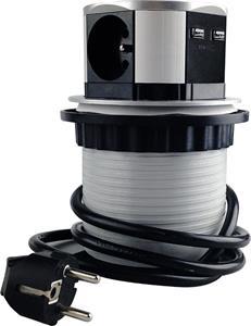 Solight PP100USB, výsuvný blok zásuviek, 3 zás., 2xUSB, kruhový tvar nízky, predlžovací prívod 1,5m, 3x1mm2, strieborný