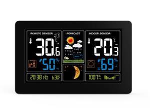 Solight TE81, meteostanica, extra veľký farebný LCD, teplota, vlhkosť, tlak, RCC, USb nabíjanie, čierna