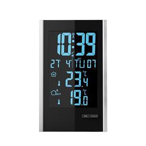 Solight TE85, meteostanice, LCD s voliteľnou farbou podsvícení, vnútorná/vonkajšia teplota, RCC, čierna / strieborná