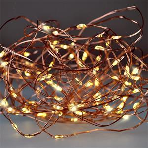 Solight vianočná reťaz medená, 100x mini LED, 10m, 3 x AA, teplé svetlo