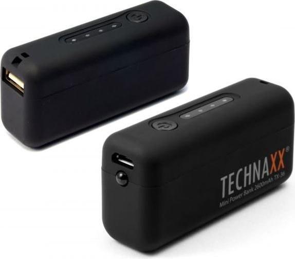Technaxx TX-36, powerbank, 2600mAh, čierna