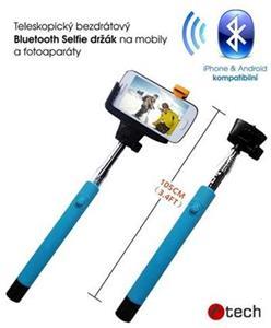 Teleskopický selfie držák C-TECH MP107M pro mobil, monopod, Bluetooth dálková spoušť, modrý