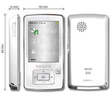Transcend 8GB Flash MP3 prehrávač T-Sonic 870 biely TS8GMP870W