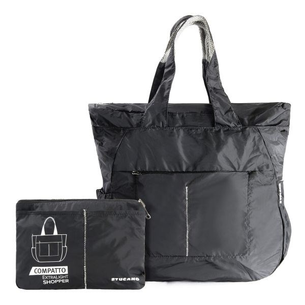 d98508d1c201f Tucano skladacia nákupná taška 35L, ultralight, vodeodolný nylon (čierna)