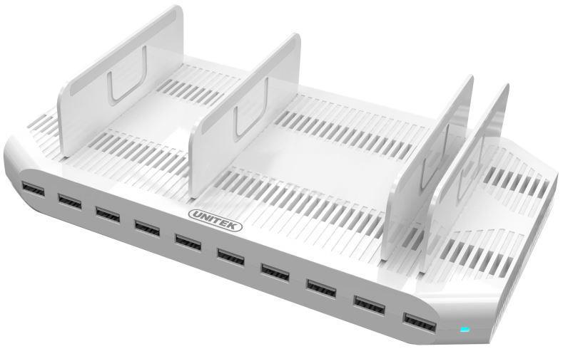Unitek Y-2172 nabíjacia dokovacia stanica 10x USB 96W pre smartphony a tablety