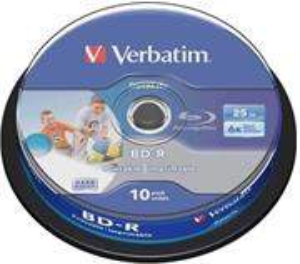 Verbatim Blu-ray BD-R DATALIFE [ Spindle 25 | 25GB | 6x | WHITE BLUE SURFACE ]