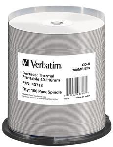 VERBATIM CD-R(100-Pack)/52x/700MB/ThermoPrint/NoID