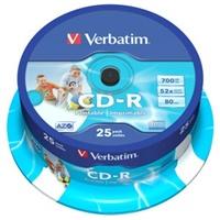 Verbatim CD-R 25 pack 52x/700MB/AZO Wide Inkjet Printable