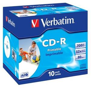 Verbatim CD-R 52x/700MB/Jewel/AZO Wide Inkjet Printable