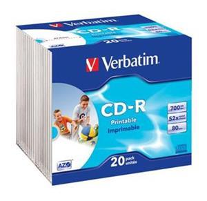 Verbatim CD-R 52x/700MB/Slim/AZO Wide Inkjet Printable