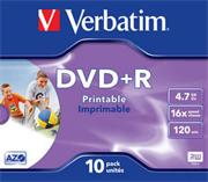 Verbatim DVD+R 16x/4.7GB/Jewel/Print, 1ks