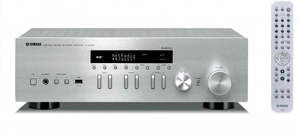 YAMAHA R-N402D, stereo receiver, strieborný